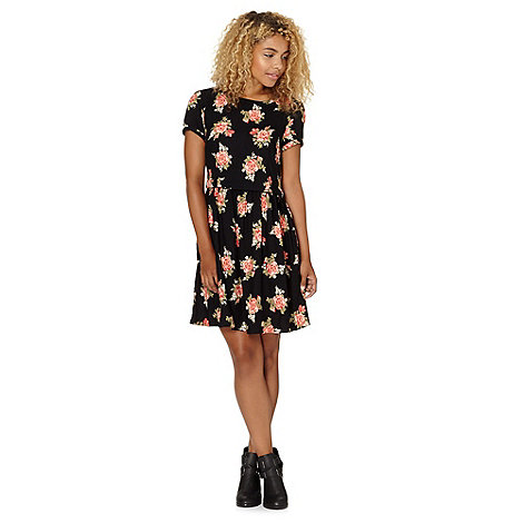 Red Herring - Black floral mock 2-in-1 smock dress