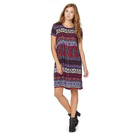 Red Herring - Purple woven mixed print dress