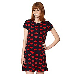 Red Herring - Navy heart print dropped waist dress