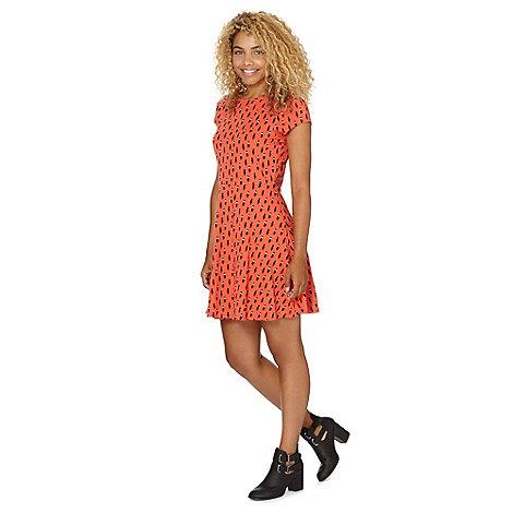 Red Herring - Orange cat printed skater dress