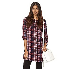 Red Herring - Purple checked crepe tunic dress