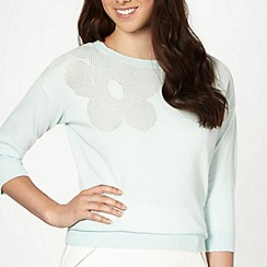 Red Herring - Light green pointelle daisy jumper