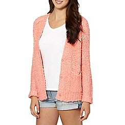 Red Herring - Coral two pocket knitted cardigan