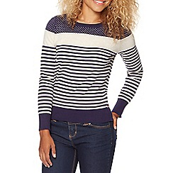 Red Herring - Navy placement stripe and spot jumper