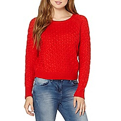 Red Herring - Orange honeycomb knitted jumper