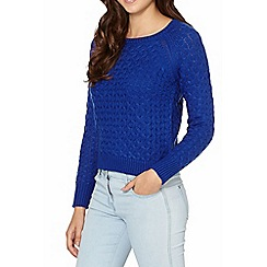 Red Herring - Royal blue honeycomb knit jumper