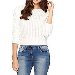 Red Herring - Ivory honeycomb knitted jumper