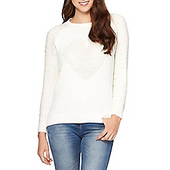 Red Herring - Ivory boucle heart jumper