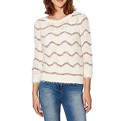 Red Herring - Ivory wavy pointelle knit jumper