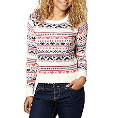 Red Herring - Pink and cream fairisle knit jumper