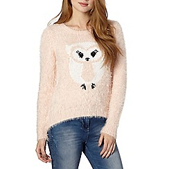 Red Herring - Pale pink eyelash owl jumper