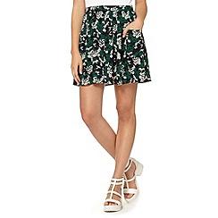 Red Herring - Green bird print woven skirt