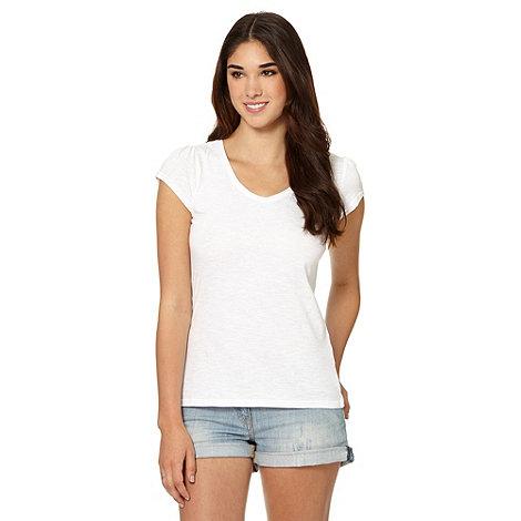Red Herring - White plain V neck t-shirt