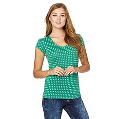 Red Herring - Green spotted V neck t-shirt