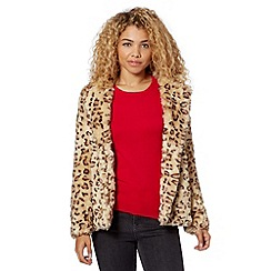 Red Herring - Beige animal print faux fur jacket