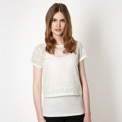 Red Herring - Ivory 2 in 1 lace daisy top