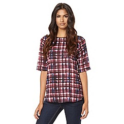 Red Herring - Purple dye check woven top