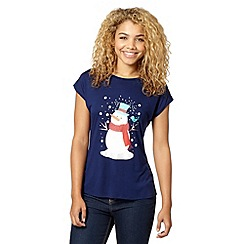Red Herring - Navy Christmas snowman print studded t-shirt
