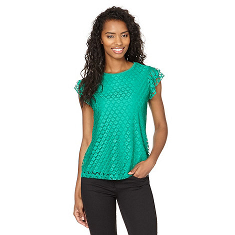 Red Herring - Green lace front ruffle sleeve t-shirt