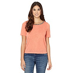 Red Herring - Peach embellished neck knitted top
