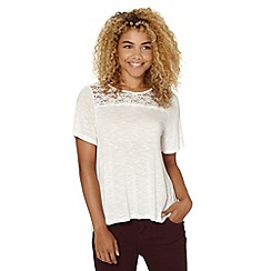 Red Herring - Ivory lace insert smock top