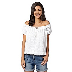 Red Herring - White floral broderie gypsy top