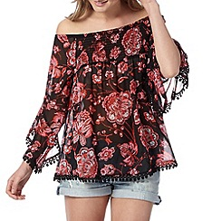 Red Herring - Black floral gypsy top