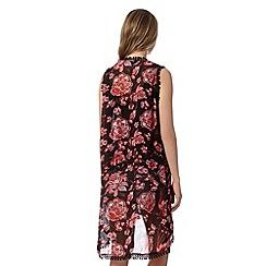 Red Herring - Black chiffon floral kimono