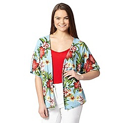 Red Herring - Light blue tropical print kimono