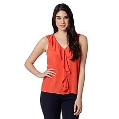 Red Herring - Orange sleeveless ruffle top