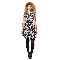 Red Herring - Black floral elasticated dress