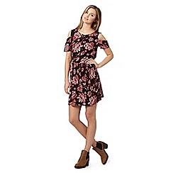 Red Herring - Black floral cutout shoulder dress