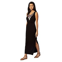 Red Herring - Black beaded aztec maxi dress