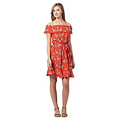 Red Herring - Red zebra print gypsy sun dress