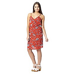 Red Herring - Red floral wrap sun dress