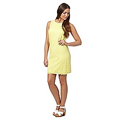 Red Herring - Light yellow crochet front shift dress