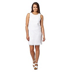 Red Herring - White sleeveless crochet shift dress