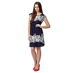 Red Herring - Navy elasticated floral print dress