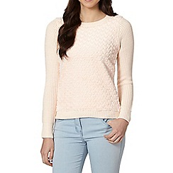 Red Herring - Light pink heart faux fur front jumper