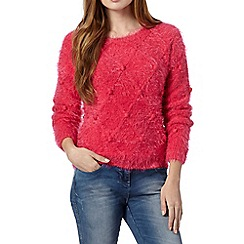 Red Herring - Pink fluffy diamond knit jumper