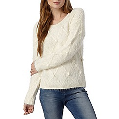 Red Herring - Ivory fluffy diamond knit jumper