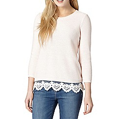 Red Herring - Pink lace hem jumper