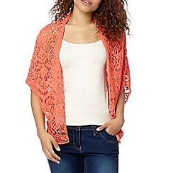 Red Herring - Peach batwing pointelle cardigan