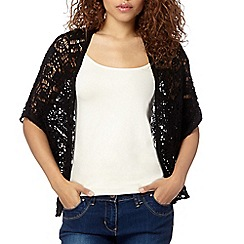 Red Herring - Black batwing pointelle cardigan