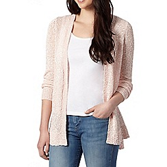 Red Herring - Pale pink textured ribbed cardigan