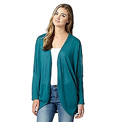 Red Herring - Turquoise draped drop shoulder cardigan