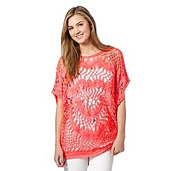 Red Herring - Bright coral crochet cape