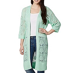 Red Herring - Aqua open knit longline cardigan
