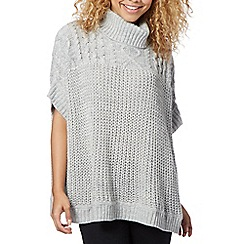 Red Herring - Grey cable knit poncho