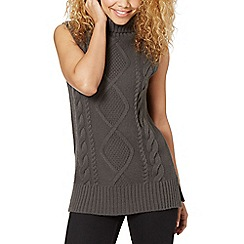 Red Herring - Dark grey cable knit sleeveless roll neck jumper